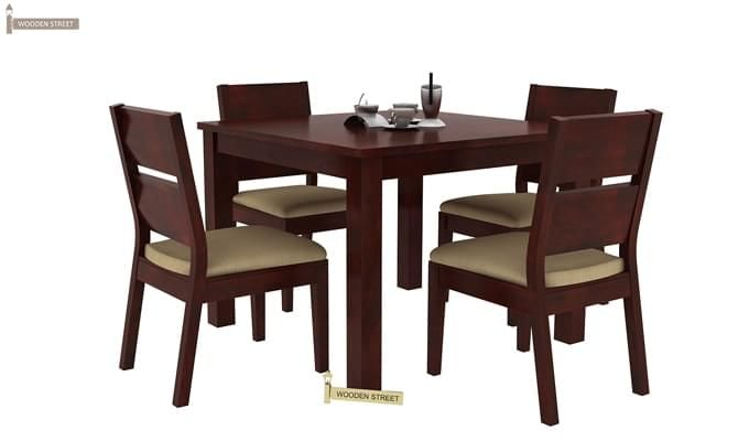 Kietel 4 Seater Dining Set (Mahogany Finish)-3