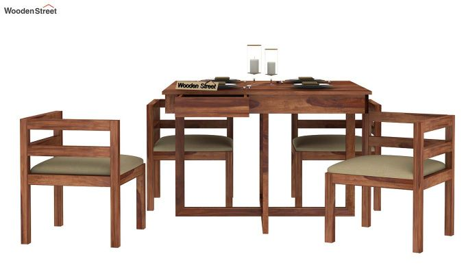 Lawrence 4 Seater Dining Set (Teak Finish)-5