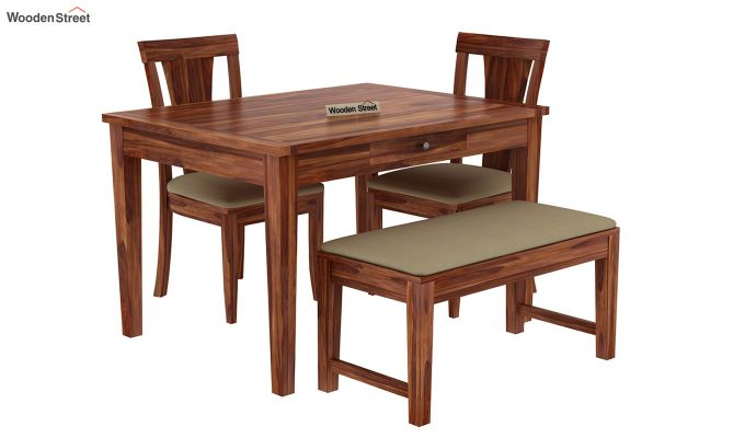 Mcbeth Compact 4 Seater Dining Set with Bench (Teak Finish)-3