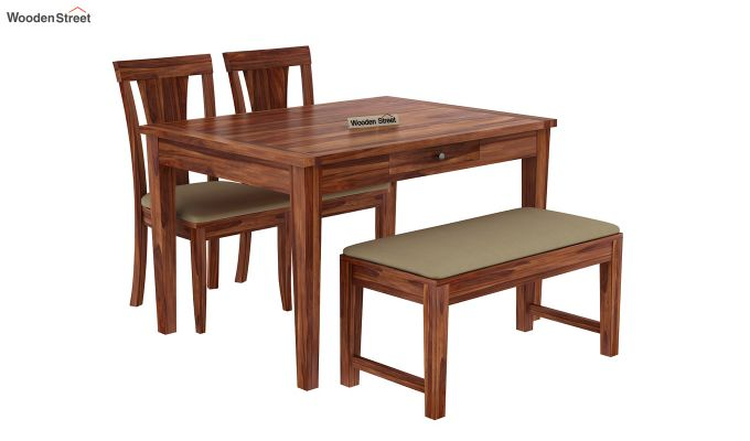 Mcbeth Compact 4 Seater Dining Set with Bench (Teak Finish)-4