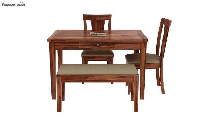 Mcbeth Compact 4 Seater Dining Set with Bench (Teak Finish)-5