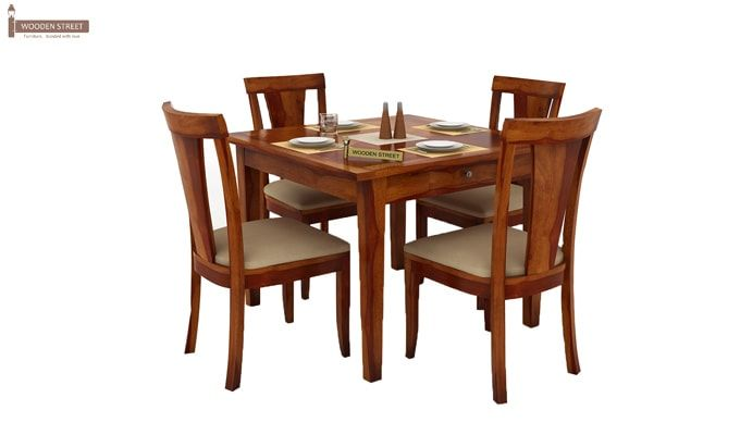 Mcbeth Storage 4 Seater Dining Table Set (Honey Finish)-2