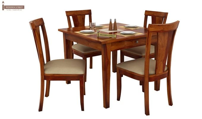 Mcbeth Storage 4 Seater Dining Table Set (Honey Finish)-3
