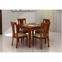 Mcbeth Storage 4 Seater Dining Table Set (Honey Finish)