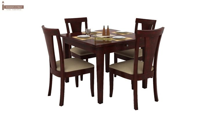 Mcbeth Storage 4 Seater Dining Table Set (Mahogany Finish)-1