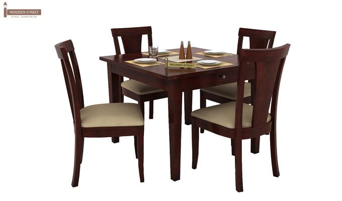 Mcbeth Storage 4 Seater Dining Table Set (Mahogany Finish)-2