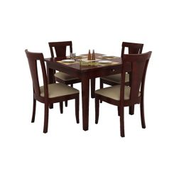 Mcbeth Storage 4 Seater Dining Table Set (Mahogany Finish)