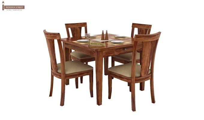 Mcbeth Storage 4 Seater Dining Table Set (Teak Finish)-1