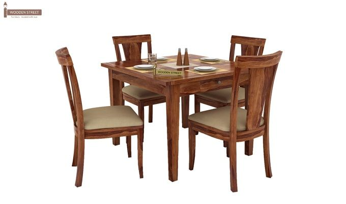 Mcbeth Storage 4 Seater Dining Table Set (Teak Finish)-2