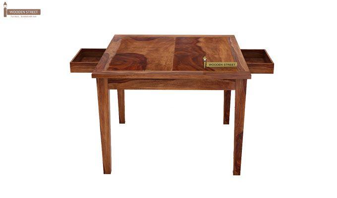 Mcbeth Storage 4 Seater Dining Table Set (Teak Finish)-5