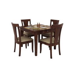 Mcbeth Storage 4 Seater Dining Table Set (Walnut Finish)