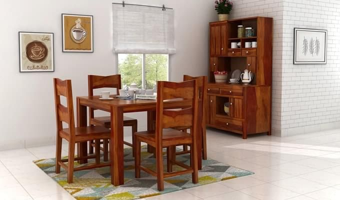 Mckinley 4 Seater Dining Set (Honey Finish)-1
