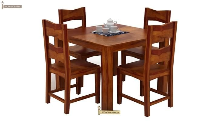 Mckinley 4 Seater Dining Set (Honey Finish)-2