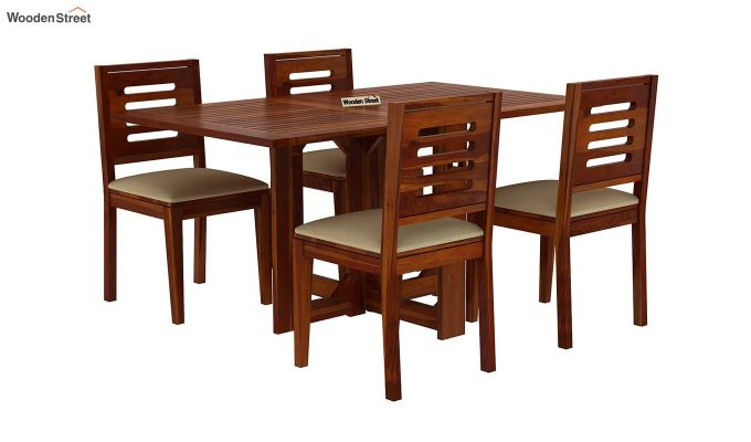 Paul 4 Seater Dining Set (Honey Finish)-2