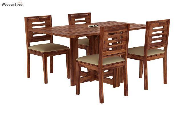 Paul 4 Seater Dining Set (Teak Finish)-2