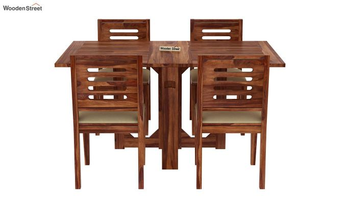 Paul 4 Seater Dining Set (Teak Finish)-3