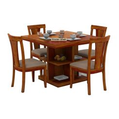 Ralph 4 Seater Dining Set with Storage (Honey Finish)