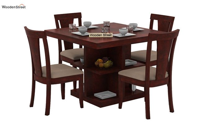Ralph 4 Seater Dining Set with Storage (Mahogany Finish)-1