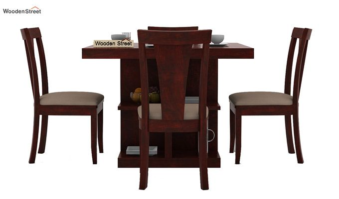 Ralph 4 Seater Dining Set with Storage (Mahogany Finish)-2