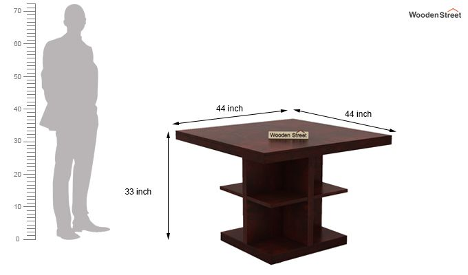 Ralph 4 Seater Dining Set with Storage (Mahogany Finish)-7