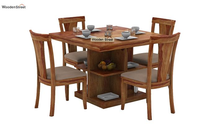 Ralph 4 Seater Dining Set with Storage (Teak Finish)-1