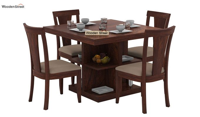 Buy Ralph 4 Seater Dining Set With Storage Walnut Finish