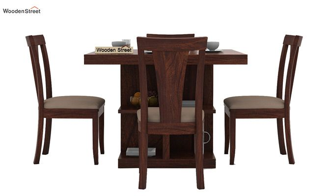 Ralph 4 Seater Dining Set with Storage (Walnut Finish)-3