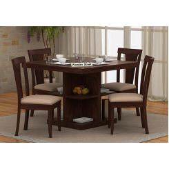 Ralph 4 Seater Dining Set with Storage (Walnut Finish)