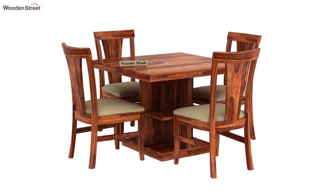 Ralph 4 Seater Dining Set with Storage (Honey Finish)-2
