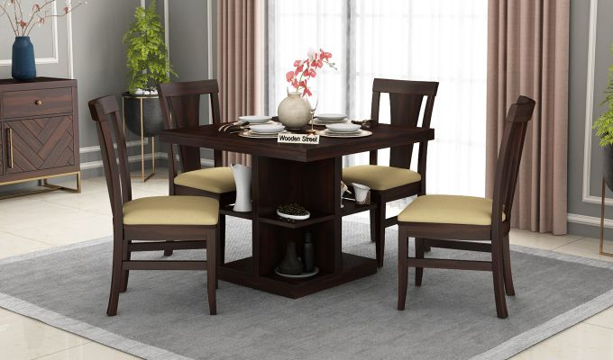 Ralph 4 Seater Dining Set with Storage (Walnut Finish)-1
