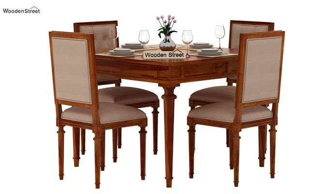 Rover 4 Seater Dining Set (Honey Finish)-2