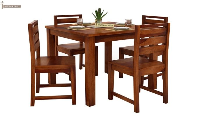Steve 4 Seater Dining Set (Honey Finish)-7