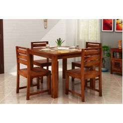 Steve 4 Seater Dining Set (Honey Finish)