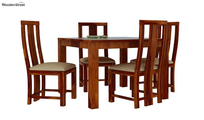 Volpel 4 Seater Dining Table Set (Honey Finish)-2