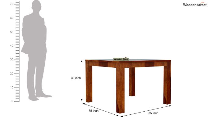 Volpel 4 Seater Dining Table Set (Honey Finish)-8