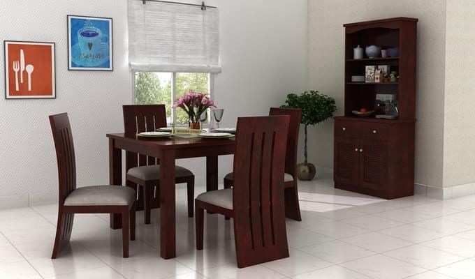 Jaoquin 4 Seater Dining Set (Mahogany Finish)-1