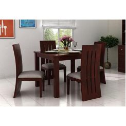 Jaoquin 4 Seater Dining Set (Mahogany Finish)