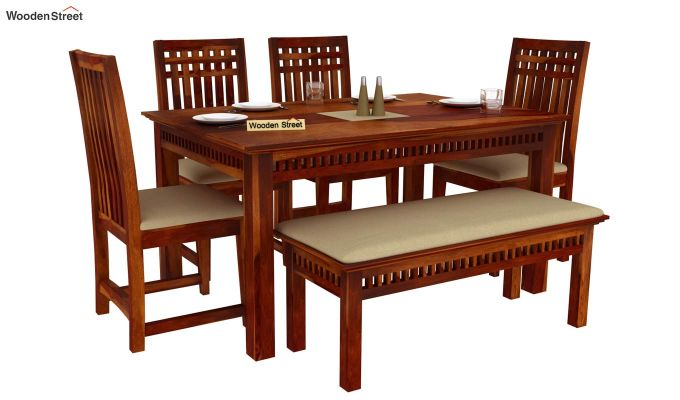 Adolph 6 Seater Dining Set With Bench (Honey Finish)-2