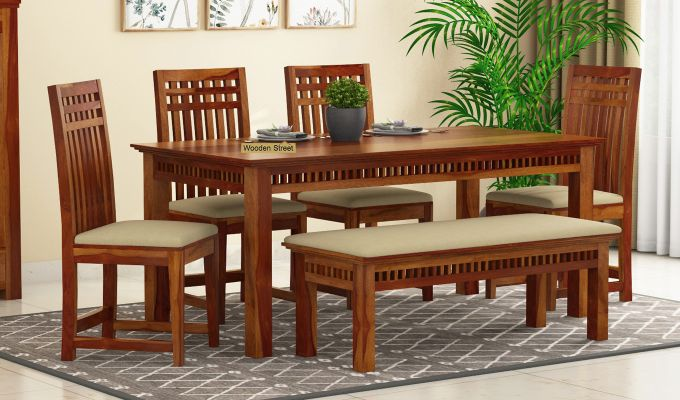 Adolph 6 Seater Dining Set With Bench (Honey Finish)-1