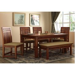 Adolph 6 Seater Dining Set With Bench (Honey Finish)