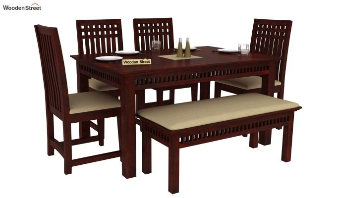 Adolph 6 Seater Dining Set With Bench (Mahogany Finish)-1