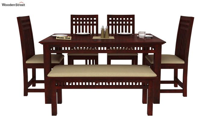 Adolph 6 Seater Dining Set With Bench (Mahogany Finish)-2