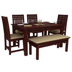 Adolph 6 Seater Dining Set With Bench (Mahogany Finish)