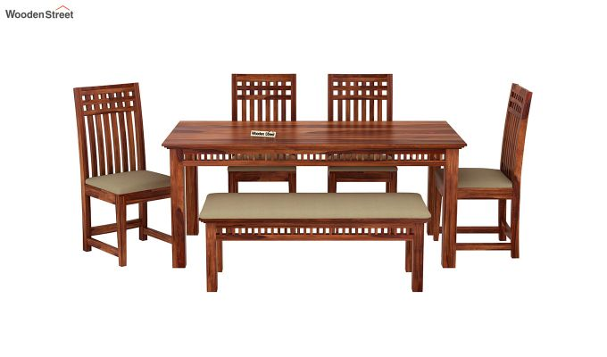 Adolph 6 Seater Dining Set With Bench (Honey Finish)-3