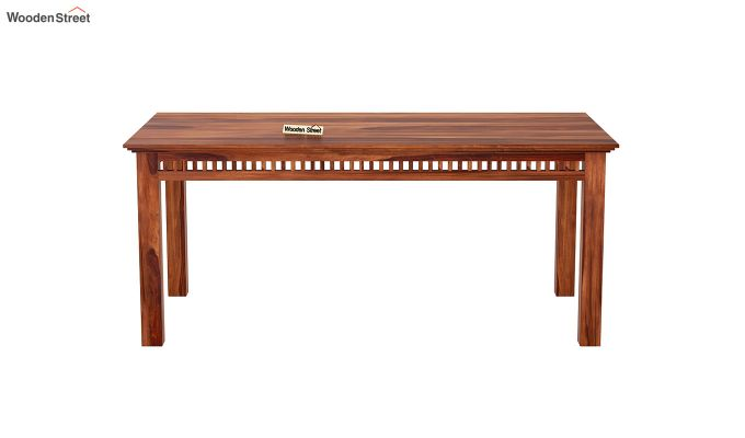 Adolph 6 Seater Dining Set With Bench (Honey Finish)-5