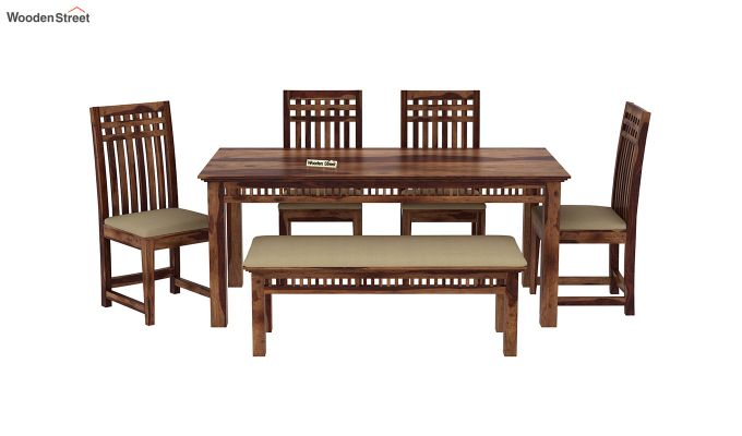 Adolph 6 Seater Dining Set With Bench (Teak Finish)-3