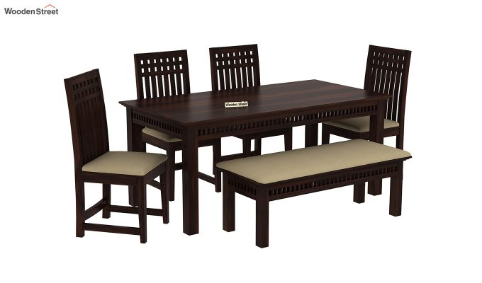 Adolph 6 Seater Dining Set With Bench (Walnut Finish)-2