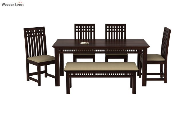 Adolph 6 Seater Dining Set With Bench (Walnut Finish)-3