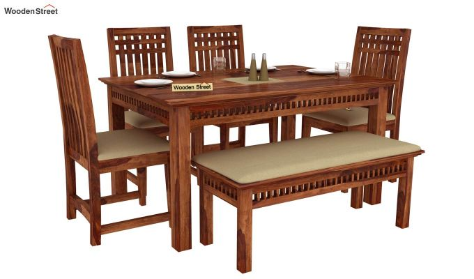 Adolph 6 Seater Dining Set With Bench (Teak Finish)-1
