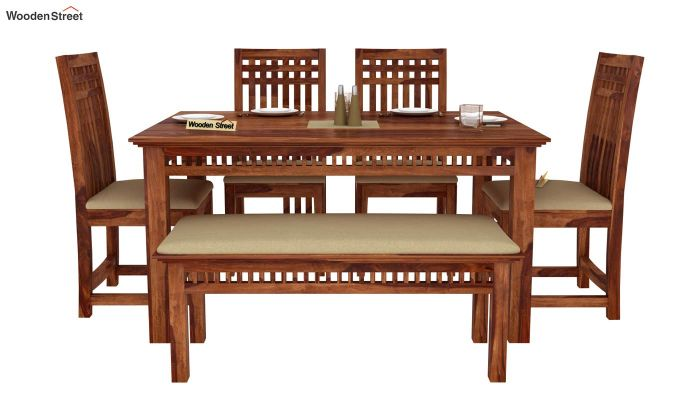 Adolph 6 Seater Dining Set With Bench (Teak Finish)-2
